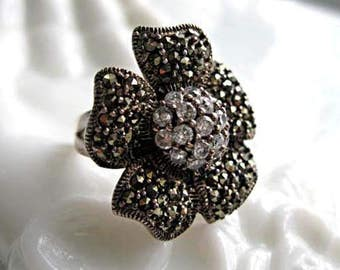 Marcasite Sterling Flower Ring, Curved Petal Blossoms with Crystal Dome, Hallmarked, 9 Grams, Size 7