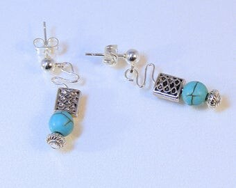 Small Round TURQUOISE Wavy BASKET WEAVE Post Earrings