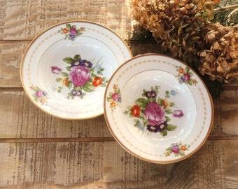 Rosenthal Selb Bavaria China Flat Rim Soup Bowls Set of 2 #2334 , Elegant German China Plates Romantic Cottage Style, Ca. 1940's