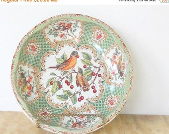 On Sale Vintage Daher Green Litho Tin Bowl, Tea Party, Ca. 1971, Robin Red Breast, Home and Living
