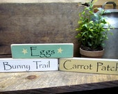 Spring Decor, Wooden Spring Signs, Easter Signs, Easter Decor, Bunny Trails, Carrot Patch, Eggs, Wood Word Signs, Wooden Signs, Easter Sign
