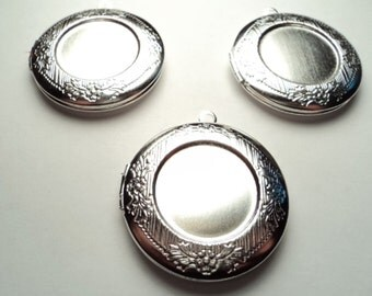 3 pcs - Round 32mm brushed matte silver lockets with setting -  m205Lsmw
