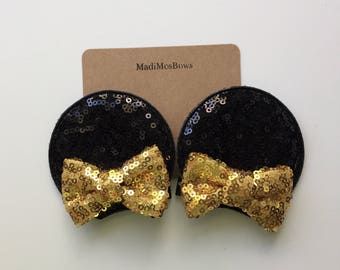 Minnie Mouse Clips gold and black Sequin perfect for pigtails to look like EARS