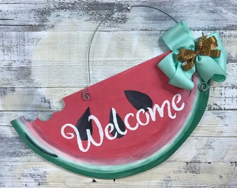 Watermelon Welcome Door Hanger, Welcome Door Sign