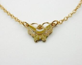 Yellow Enamel Moth Necklace