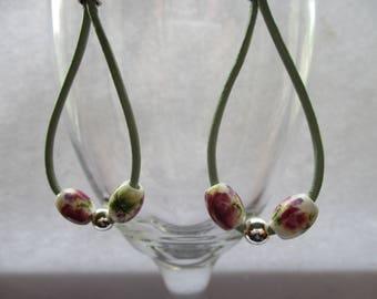 Leather earrings, Drop earrings, Trendy earrings, Beaded drop earrings, Mothers day gift, Gifts for her, Handmade earrings
