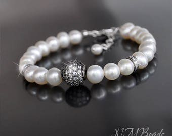 Pearl Bracelet With Zircon Pave Ball Sterling Silver Freshwater Pearl Black White Beaded Stylish Sparkly Bridal Wedding Jewelry Gift For Her