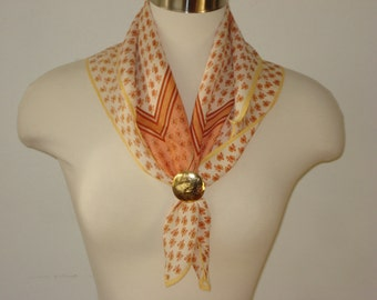 Vintage Peach and Cream Scarf - Patterned Floral Square Scarves - Womens Hair Accessories 1980s