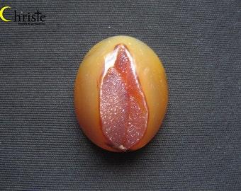 Brown Lips Druzy Oval Cabochon 30x38x13mm