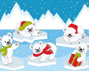 Polar Bears Clipart - Digital Vector Arctic, Winter, White Bear, Polar Bear Clip Art
