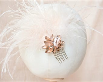 Blush Feather Fascinator,Blush Feather Hair Comb,Blush Bridal Hair Comb,Blush Wedding Hair Comb,Blush Crystal Hair Comb,Blush Fascinator