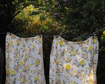 60s Floral Curtains - Yellow Rose and Daisy Design