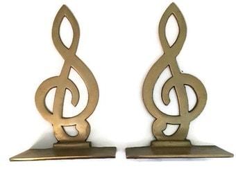 Treble clef brass etsy - Treble clef bookends ...