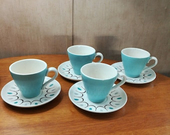 Set of four Del Rey coffee cups and saucers Metlox Poppytrail California pottery Mid Century Atomic Age