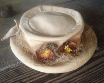 French Edwardian Era Hat Cream Fabric Silk Floral Downtown Abbey Style
