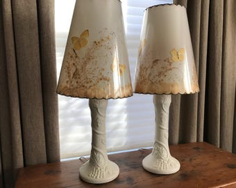 Van Briggle Pottery Table Lamp Set of 2, Flowers, Butterflies, Original Lamp Shades, Mid Century