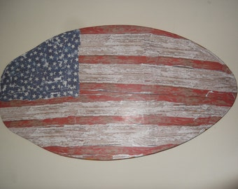 upcycled boogie board, Folk art, Americana Amgingerican Flag, Mixed art wall hanging