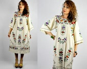 RESERVED Vintage Embroidered Mexican Maxi Dress Ivory with Floral Embroidery Oaxacan Dress Fiesta Senorita Dress Boho Hippie Gypsy sz S - M