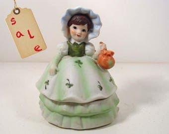Brinns Ceramic Little Lady Figurine and Trinket Box