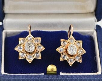 Star floret Victorian 3.00 Ct large solitaire diamond G-VVS/VS rare drop earrings