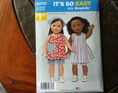 Simplicity S0757, 18 inch Doll Clothes Pattern, Fits American Girl Doll, Next Generation Dolls