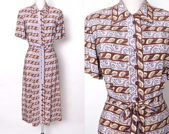 Vintage 1940s Rayon Dress 40s Novelty Border Print Shirtwaist Day Dress