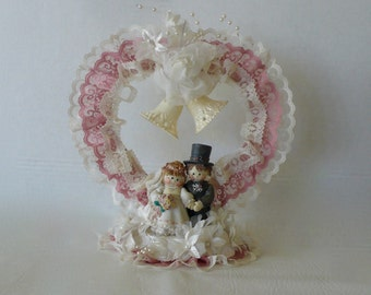 Vintage Country Doll Wedding Cake Topper Doll Bride and Groom Dusty Rose Lace Cake Topper Heart and Bells
