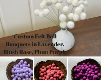 Felt Ball Flower Bouquets - lavender, blush rose pink or plum purple - 2 cm craspedia, billy ball button, bold faux flower - customize color