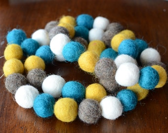 Felted Wool Ball Garland - 'Peacock' in 9 feet (blue, gold, grey, white) - 1 inch balls HANGERS INCLUDED! Nursery or Birthday Party Decor