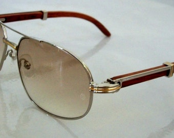 Aviator sunglasses Silver frame with gold, Wood Temples. Made in France. Never worn, Mint, for Men.