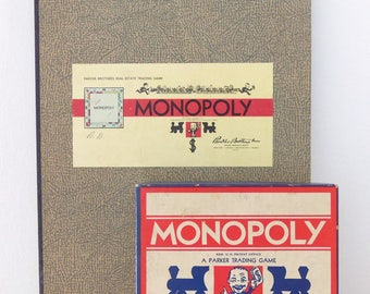 1936 Monopoly Game/Board & Pieces/Vintage Board Game/Parker Bros. Collectible *Price Includes Domestic Shipping