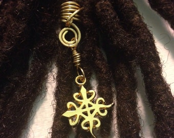 Funtunfunefu Oneness of Humanity African Adinkra Wire Wrapped Hair Bead Dread Locs Dreadlock Jewelry