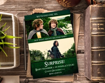 Funny Pregnancy Announcement / Lord of the Rings, LOTR / Second Baby Announcement / Pregnancy Reveal Idea / Digital or Printed Cards