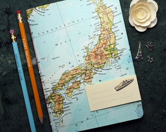 TRAVEL JOURNAL, Japan, Tokyo, Yokohama, Osaka, 5,7x8,2inch, 40 p. RULED travel journal, diary, notebook, atlas, map, vintage, upcycling