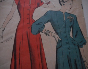 Vintage 1940's Hollywood 1927 Dress Sewing Pattern, Size 16 Bust 34
