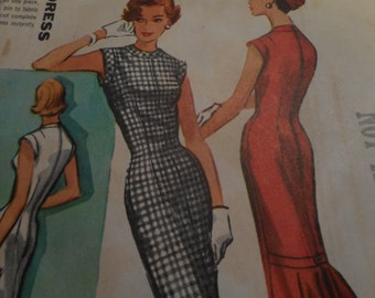 Vintage 1950's McCall's 4002 Dress Sewing Pattern, Size 14 Bust 34