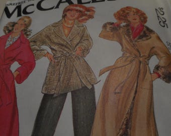 Vintage 1970's McCall's 6349 Wrap Car Coat Sewing Pattern, Size 12 Bust 34