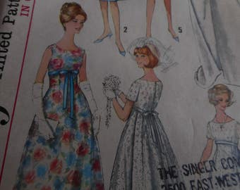 Vintage 1960's Simplicity 5872 Bridal Dresses Sewing Pattern, Sizes 11, and 18 available