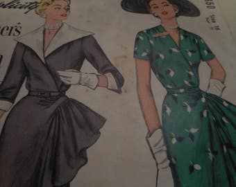 Vintage 1950's Simplicity 8350 Dress Sewing Pattern, Size 16 Bust 34