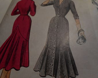 Vintage 1950's McCall 8289 Dress Sewing Pattern, Size 16 Bust 34
