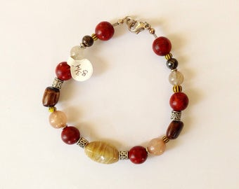 Mens Brown, Tan and Red Beaded Bracelet 8 3/4 nches