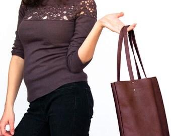 Burgundy leather handbag, leather tote bag, burgundy leather shoulder bag