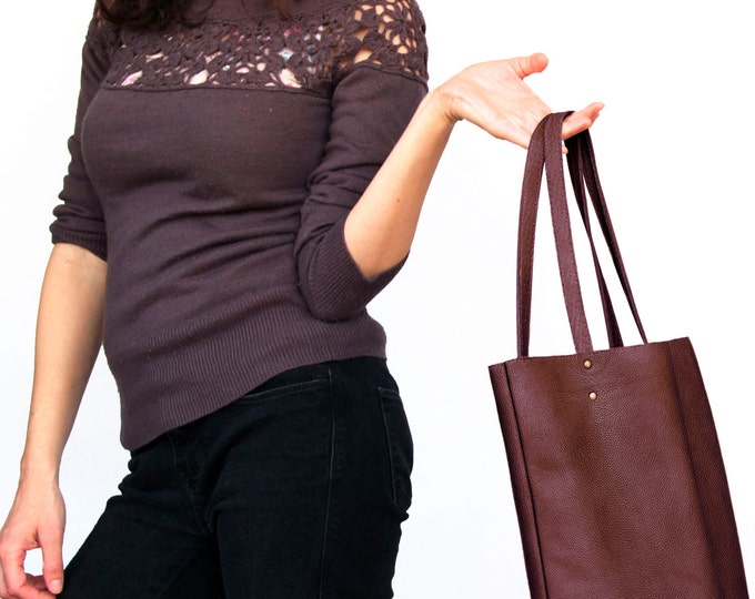 Burgundy leather handbag, leather tote bag, burgundy leather shoulder bag