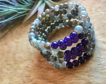 The Journey Bracelet, Labradorite and Amethyst, Sterling Silver, Intrinsic Journeys Jewelry
