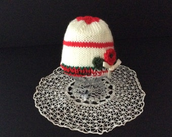 Baby Girl White Christmas Hat with Red Flower, 0-3 months