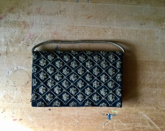 Black Velvet Clutch, Vintage Black Clutch, Metallic Thread, Made in India, Gold Appliqué, Evening Purses, Evening Handbags, Indie Boho Style
