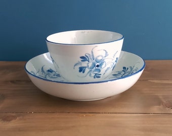 Antique Pearlware Tea Bowl and Saucer c1790