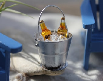 "Miniature Handcrafted BUCKET of BEER with ""ICE""  for your Beach Vacation  - by Landscapes In Miniature"