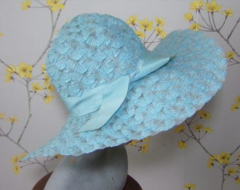 Vintage 1970s Blue Summer Woven Hat Baby Blue Hat Holiday Hat Resort Hat Plastic Woven Hat