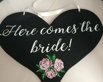 Here comes the bride blackboard, chalkboard heart plaque for page boys and bridesmaids
